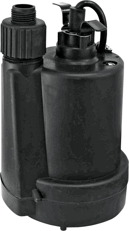 Superior Pump 91250 Continuous Duty Submersible Utility Pump, 30 gpm, 1/4  hp, 120 V, 3 8 A, 60 Hz, 10 ft