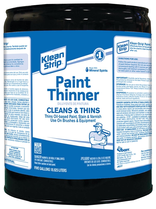 Klean-Strip CKPT94402 Paint Thinner, 5 gal Metal Can, Water White, Liquid