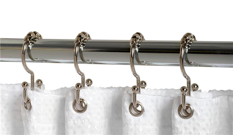 Zenith 96SS Double Roller Shower Curtain Hook, For Use With Shower ...