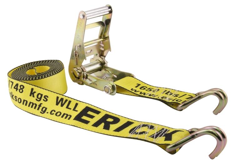 Erickson 51330 Black 1.5 x 15 Medium Duty Ratcheting Tie-Down Strap with double J-hook 4000 lb Load Capacity