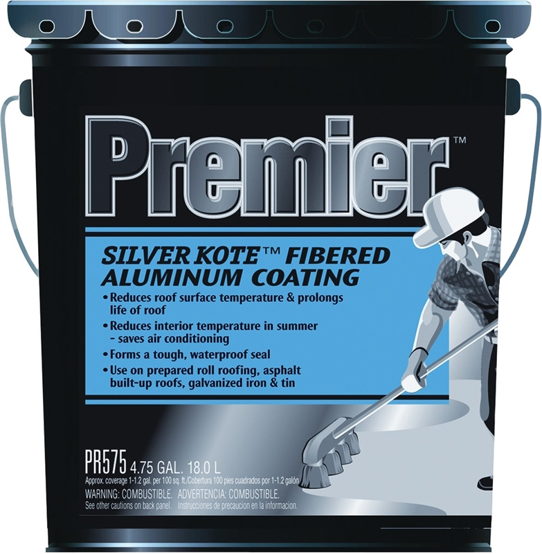 Henry PR575070 Fibered Aluminum Roof Coating, 4 75 gal, Liquid, Black,  Petroleum, 0 99 SG, 105 deg Flash Point