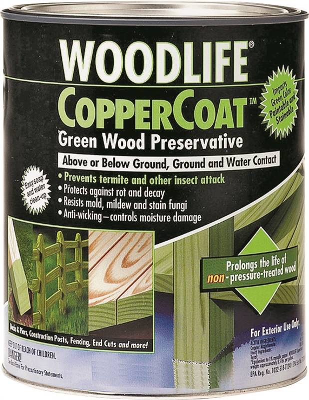 Wolman Coppercoat Woodlife Water Based Wood Preservative 1 Qt Container Brush Roller Pump