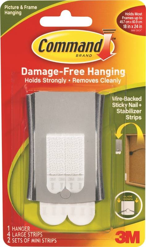 Command 17048 Wire Backed Picture Hanger 8 Lb Metal Steelsilver