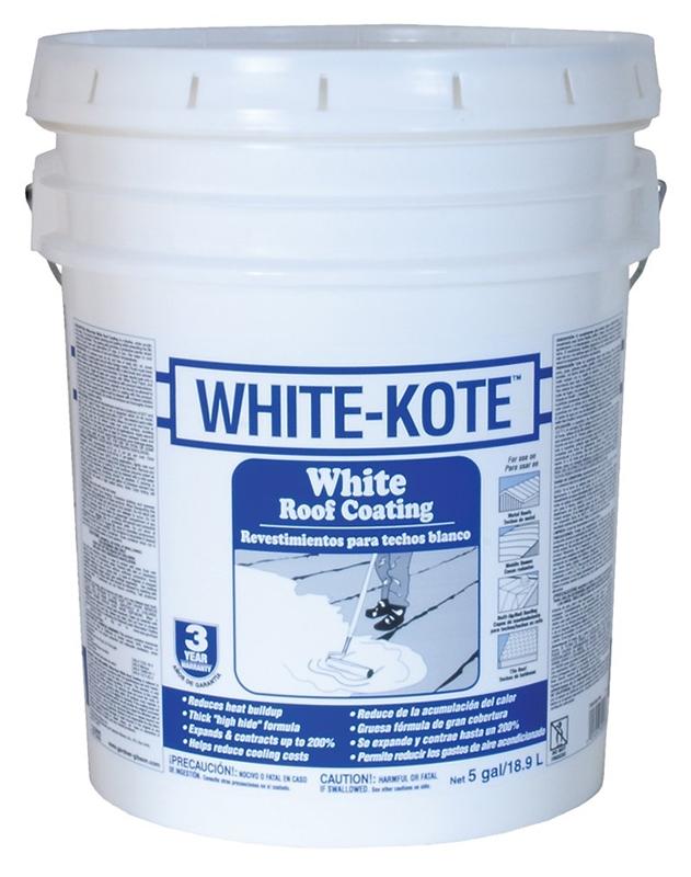 Gardner-Gibson White-Kote Elastomeric Roof Coating, 5 gal, Liquid, White,  Acrylic Paint Like, 1 2 SG, < 25 g/l VOC