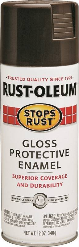 Rustoleum Stops Rust Oil Based Topcoat Protective Enamel Spray Paint, 12  oz, French Roast