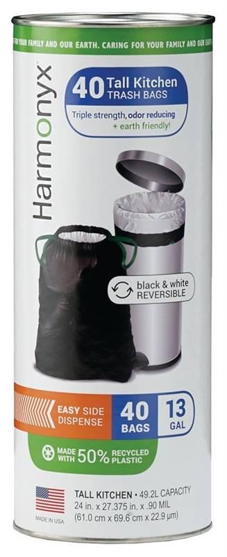 Harmonyx 13090040 Tall Kitchen Trash Bag 13 Gal 27 3 8 In L X 24 In W Plastic Black White