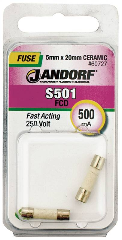 Bussmann S501 Cartridge Fast Acting Fuse Without Indicator
