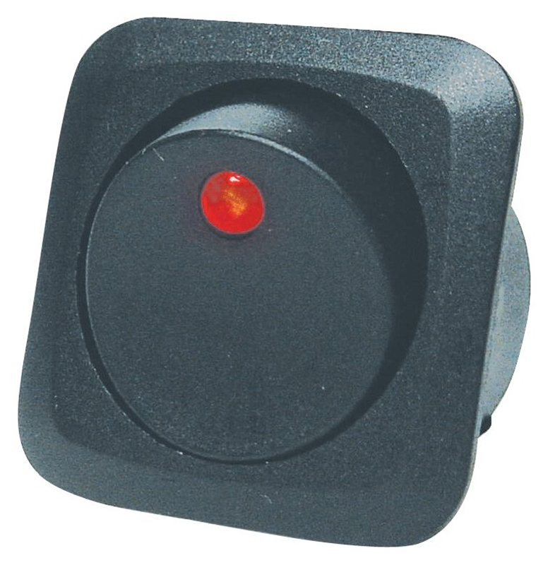 Calterm 40600 Automotive Lighted Round Rocker Switch with Red LED, 25 A