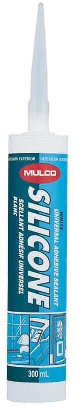 MULCO 111-010 Multi-Purpose One-Part Silicone Sealant, 300 ml, White,  Homogeneous Paste