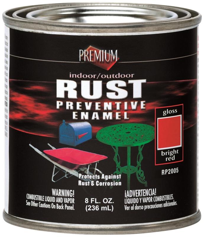 Rustoleum Premium Oil Based Rust Preventive Enamel Paint 1 2 Pt Can Bright Red