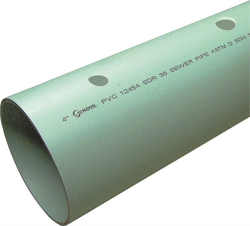 Genova 400 Perforated Solvent Weld Sewer and Drain Pipe, 4 in x 10 ft,  Belled, SDR 35, PVC