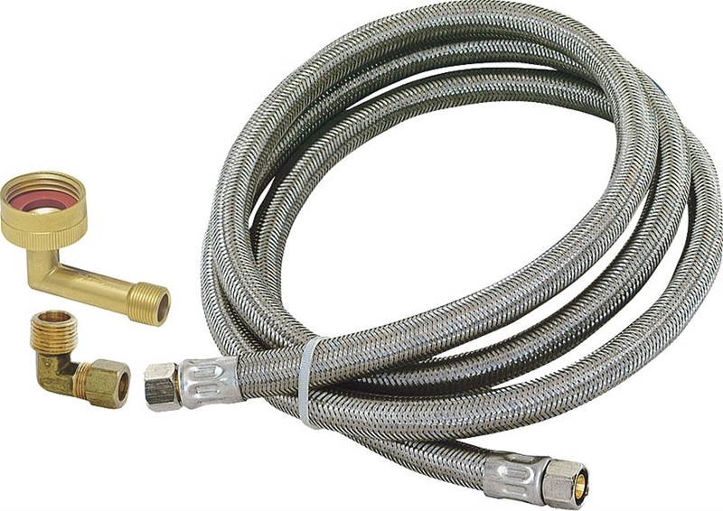 Eastman 41042 Stainless Steel Dishwasher Connector 3//8 Comp x 3//4 FHT x 60 length Stainless Steel