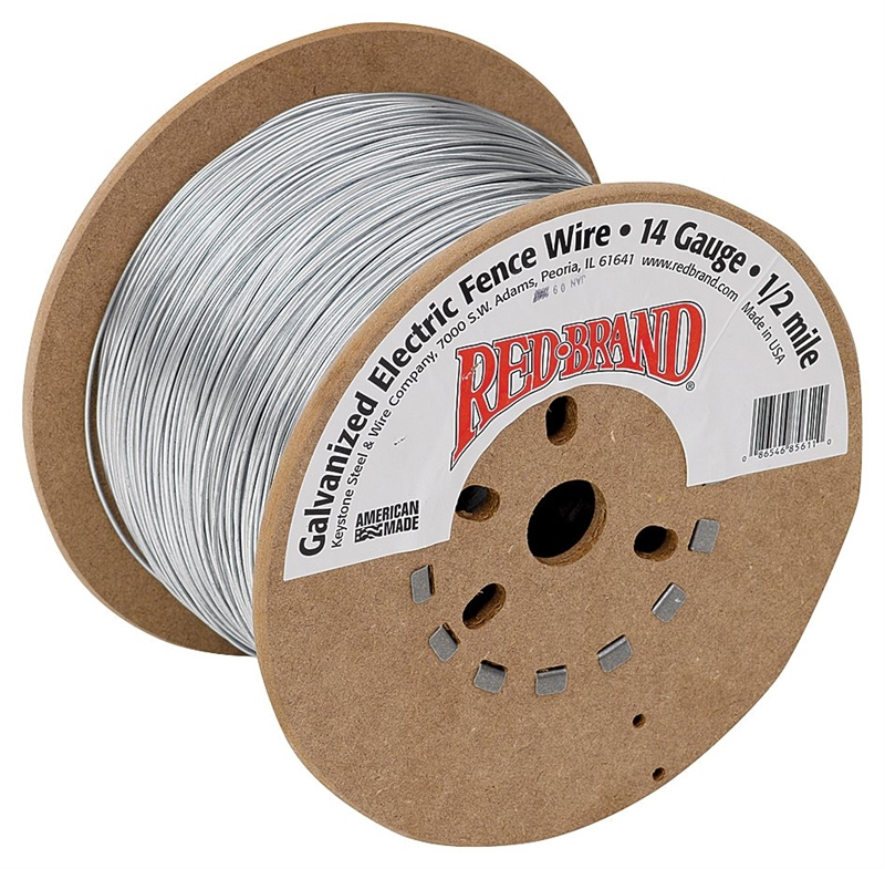 Red Brand 85611 Electric Fence Wire, 14 ga Wire, 1/2 mile L, Steel ...
