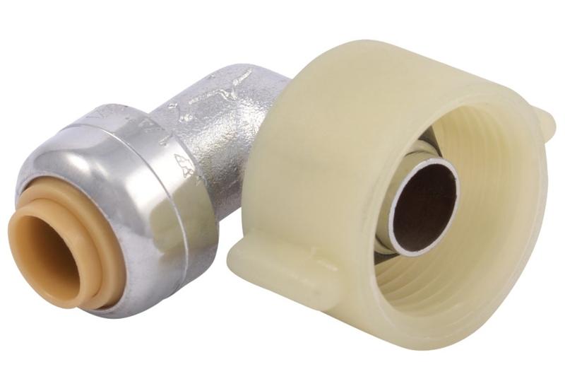 Sharkbite U3537LFA Push Fit Toilet Connector Elbow, 1/4 X 7/8 in, Ballcock,  200 psi, Brass, Chrome Plated