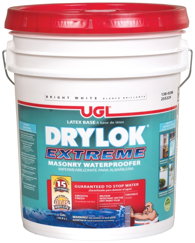 Drylok 28615 Extreme Masonry Waterproofing Paint, 5 gal, 75 - 100  sq-ft/gal, White, Ammonia, Liquid