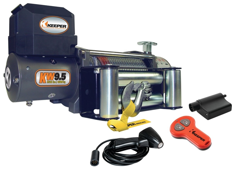 Hampton KW95122 Portable Electric Winch, 9500 lb, 12 VDC, 5 5 hp, 21/64 in  X 100 ft, Steel