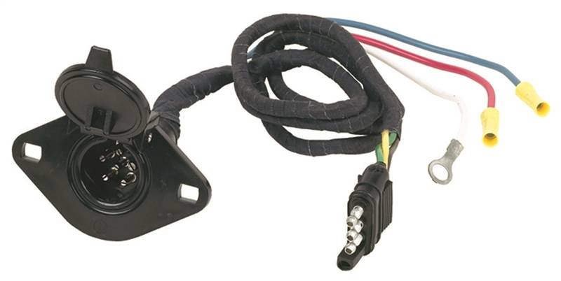 Hopkins 47155 4-Wire Flat to 6-Pole Round Trailer Adapter, 6 P, 4 ...