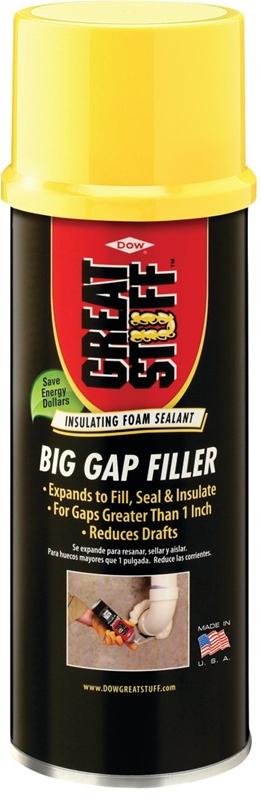 Great Stuff Big Gap Filler 157906 Triple Expanding Foam Sealant, 12 oz,  Can, Yellow, Mild, Foam