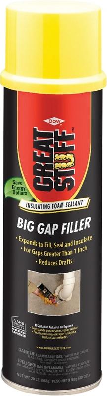 Great Stuff Big Gap Filler 157913 Triple Expanding Foam Sealant, 20 oz,  Can, Yellow, Mild, Foam