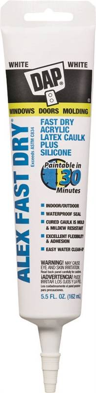 Dap Alex Fast Dry Acrylic Latex Caulk With Silicone, 5 5 oz, Tube, White,  Paste