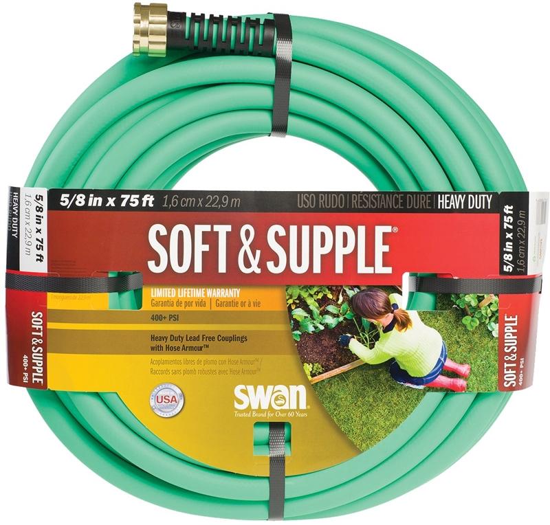 Swan Soft & Supple Heavy Duty Garden Hose 5 8 in ID 75 ft L Rubber