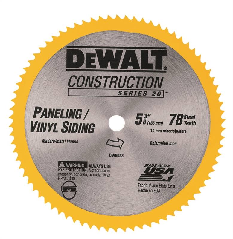 Dewalt DW9053 Heavy Duty Circular Saw Blade, 5-3/8 in Dia x 0 039 in T, 80  Teeth, 0 393 in Arbor