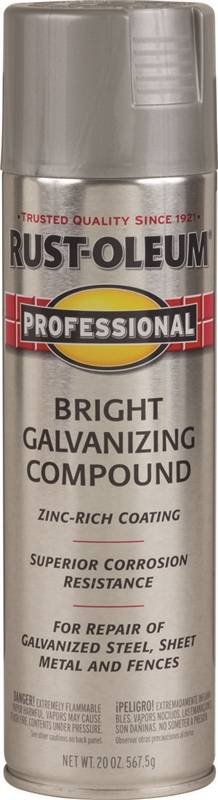 Rust-Oleum Professional Galvanizing Compound Spray Paint, 20 oz, 10 - 12  sq-ft/can, Bright Gray, Solvent Like, Liquid