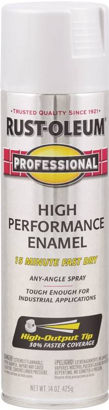 Rustoleum Professional High Performance Topcoat Enamel Spray Paint, 14 oz  Aerosol Can, 14 sq-ft