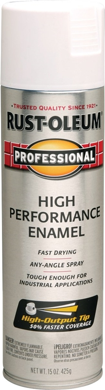 Rustoleum Professional High Performance Topcoat Enamel Spray Paint, 15 oz  Aerosol Can, Flat White