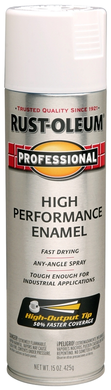 Rustoleum Professional High Performance Topcoat Enamel Spray Paint, 15 oz  Aerosol Can, White