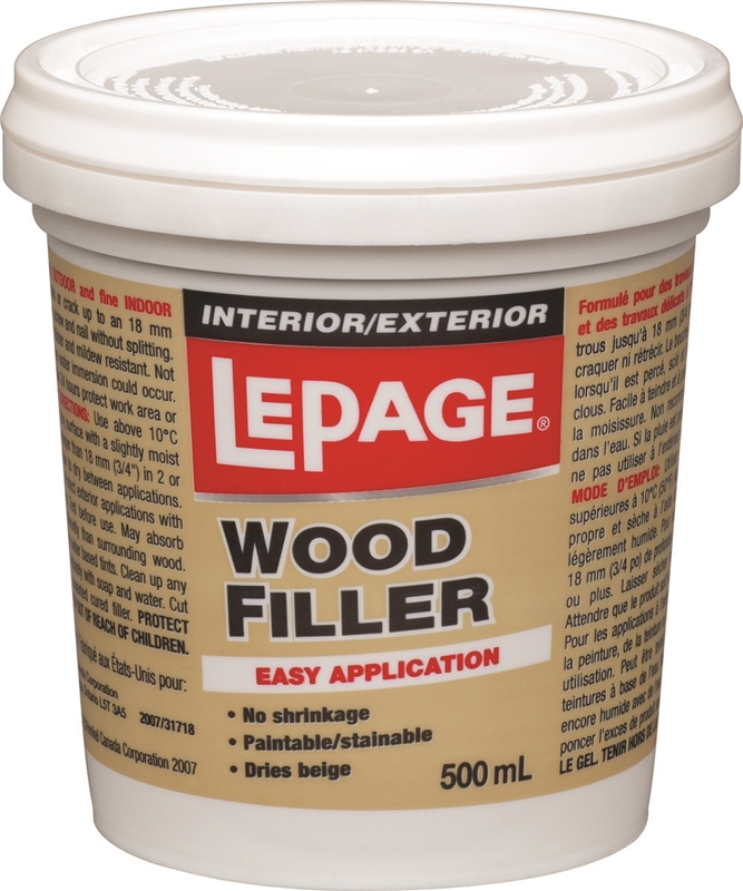 Lepage 462073 wood filler interior exterior plastic tub 500 for Exterior wood filler paintable