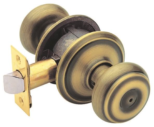 Schlage Georgian F40 Round Door Knob Lock Antique Brass