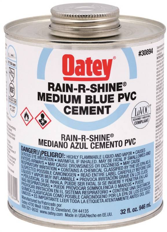 Oatey 30894 Medium Bodied Solvent Cement, 32 oz, Can, Blue, Liquid