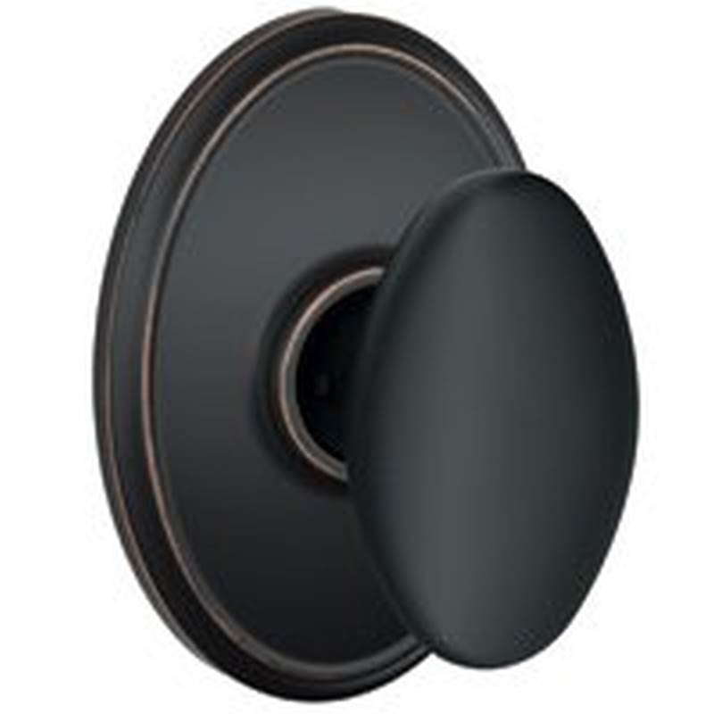 Schlage F10 SI E716 WKF Egg Shape Passage Door Knob, Unkeyed, Solid Brass,  Aged Bronze | Cape Electrical Supply