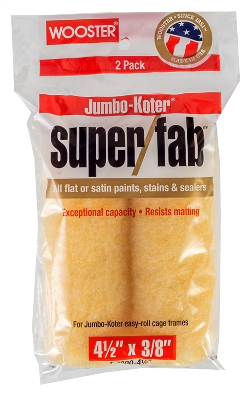 Wooster Super/FAB JUMBO-KOTER Paint Roller Cover, 3/8 in Nap, 4-1/2 in L,  Knit Fabric Cover