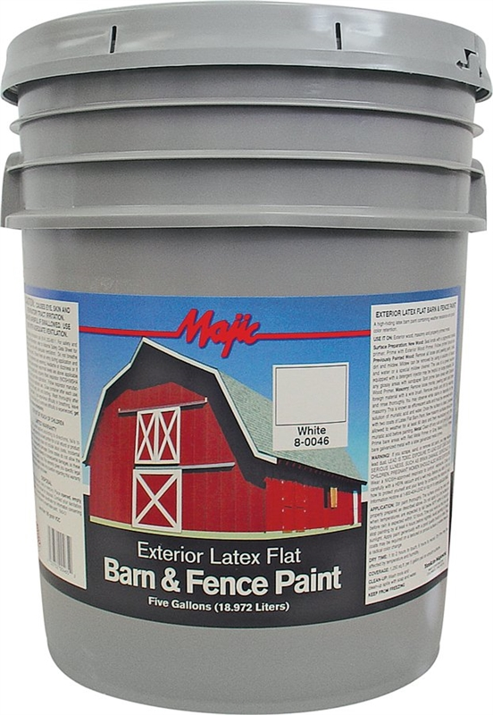 Majic 8 0046 Barn And Fence Paint 5 Gal Pail 250 Sq Ft Gal White