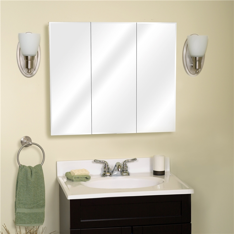 Zenith Bathroom Cabinets: Zenith M30 Beveled Edge Mirrored Frameless Tri-View