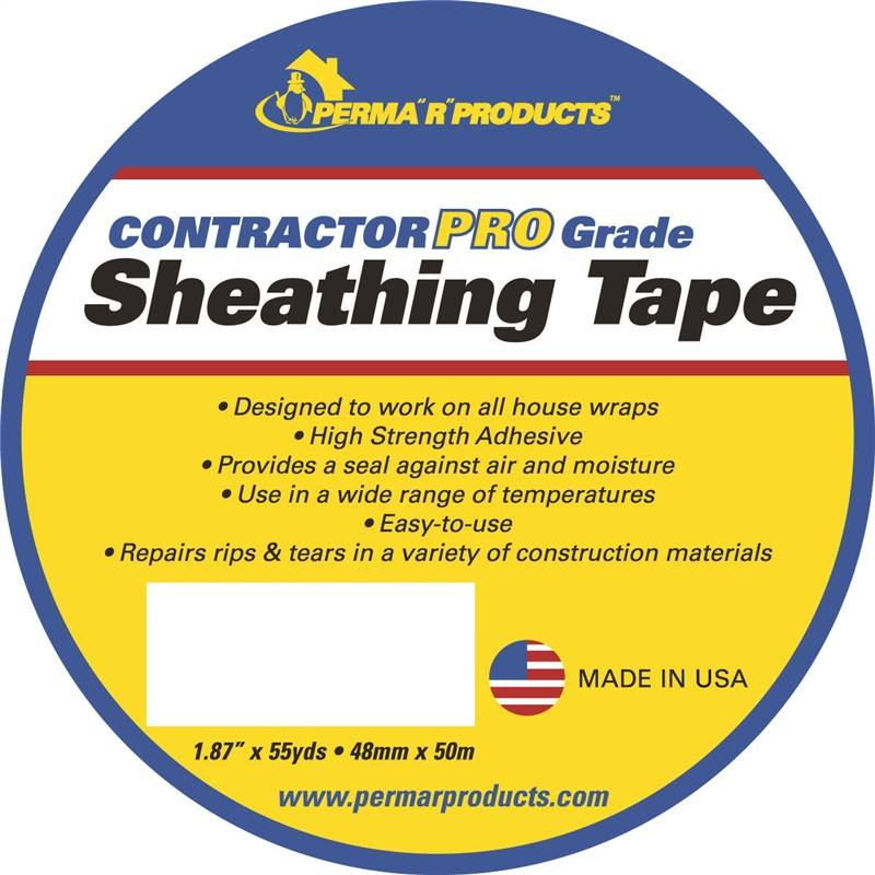 Perma R Contractor Pro Sheathing Tape, 55 yd L x 1 87 in W, White