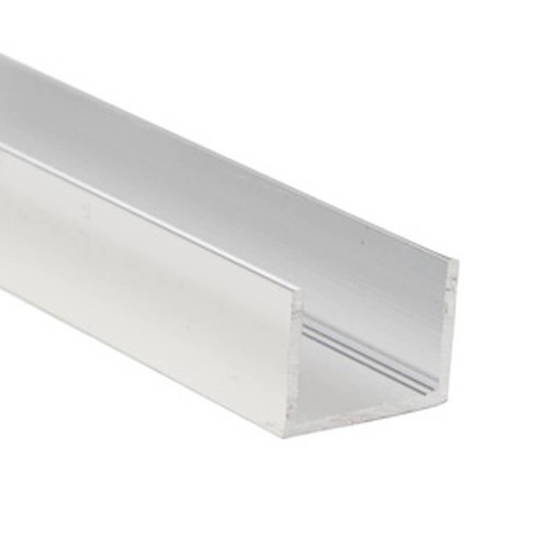 DUA983SCL08 U Channel, 8 ft L, Aluminum, Anodized