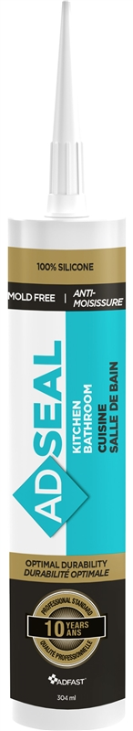 Adseal 4801 Non-Yellowing Kitchen and Bath Sealant, 304 ml, Clear, Paste