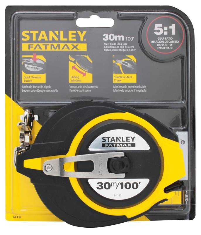Stanley 34132 Long Measuring Tape 100 ft L x 38 in W Stainless