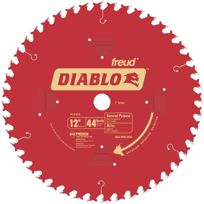 Diablo D1244X General Purpose Circular Saw Blade, 12 in Dia, 44 Teeth, 1 in  Arbor
