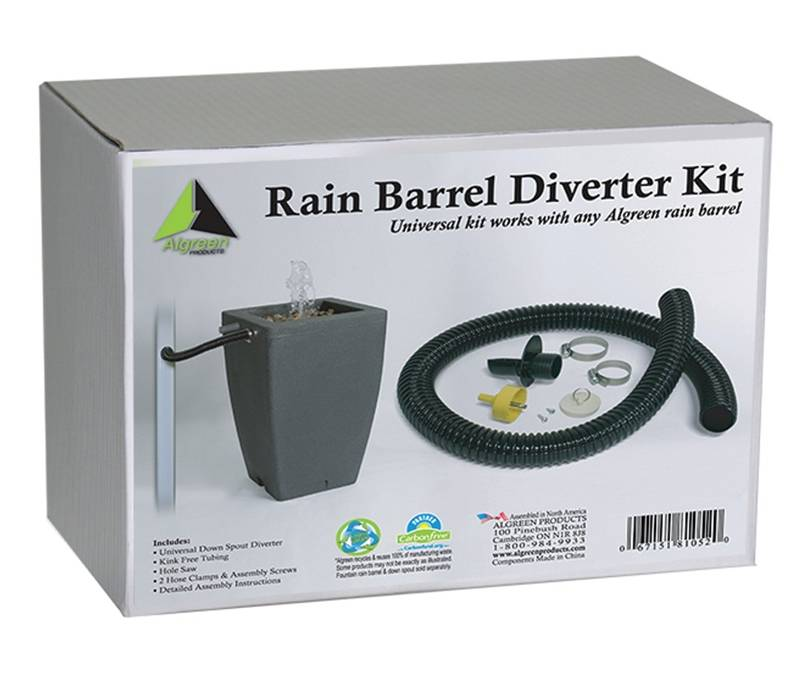 Algreen 81052 Rain Barrel Diverter Kit Plastic