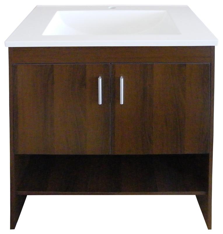 Vanity brown wht 2 door 1 hole - Preston hardware bathroom vanities ...