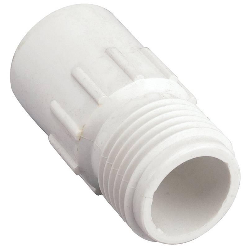 WaterMaster 53361 Hose to Pipe Adapter, 3/4 in, Slip X MHT, PVC, White
