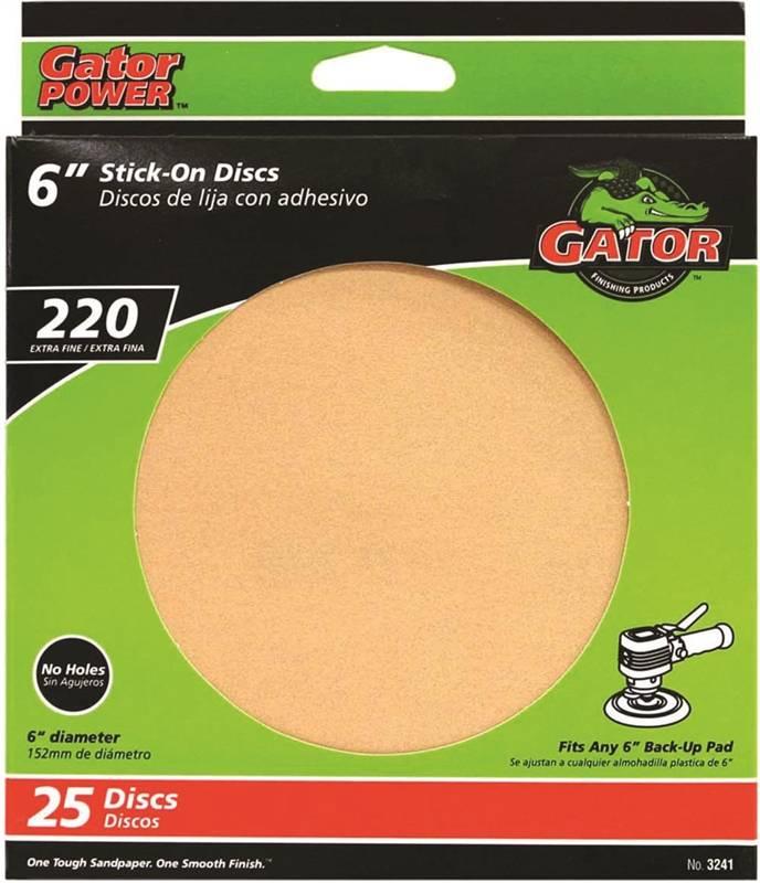 Gator Red Resin 3241 Stick-On Sanding Disc, 6 in, 220 Grit