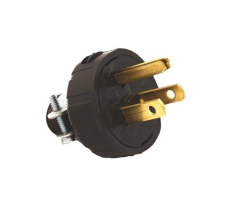 Leviton 000-48648-000 Round Handle Plug With Cord Clamp, 125 V, 15 A ...