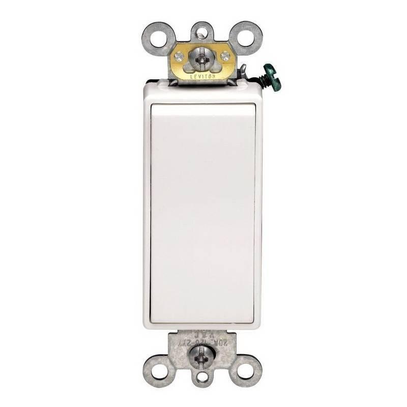 Leviton Decora Self-Grounding Rocker Switch, 120/277 VAC, 20 A, 1 P
