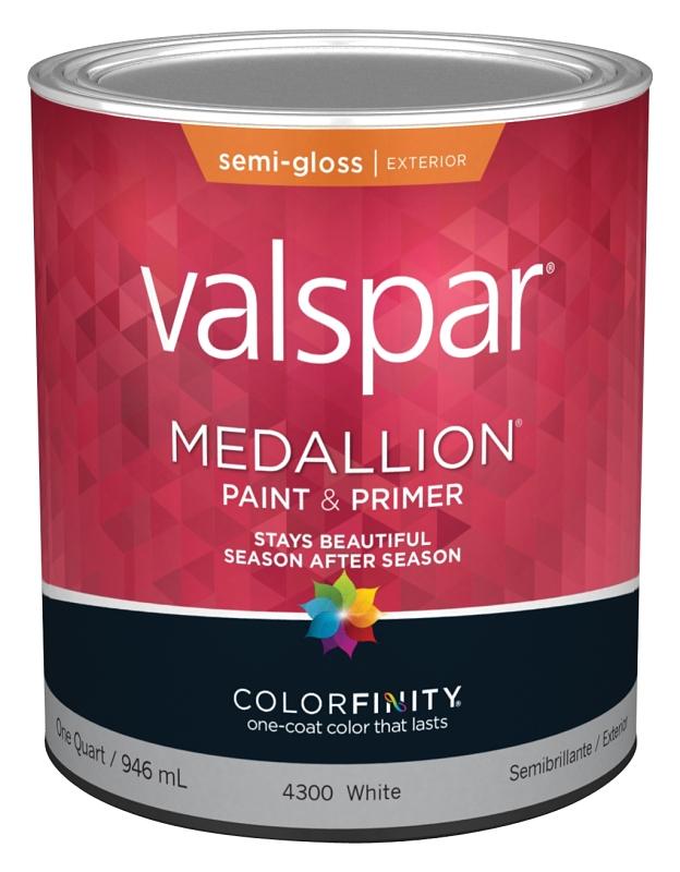 Valspar 4300 Medallion Exterior White Paint & Primer, Semi-Gloss, 1 Quart - CBS BAHAMAS LTD