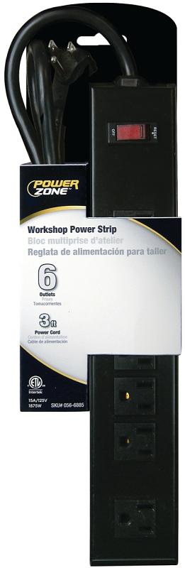 PowerZone OR801123 Workshop Power Outlet Strip, 6-Socket, 15 A, 3 ft L Cable - CBS BAHAMAS LTD
